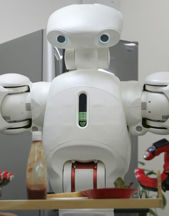 Twendy-One, a robot designed to help the elderly and disabled people around the house, demonstrates carrying a food tray at Waseda University in Tokyo November 27, 2007. Twendy-one was designed by robotics researchers at Waseda University to have human-sized four-fingered hands cabable of picking up and holding delicate objects without crushing them.  REUTERS/Michael Caronna (JAPAN)